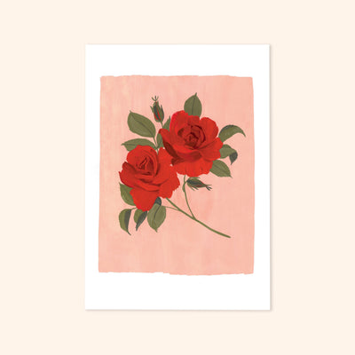 a print of two red roses painted on a light pink background