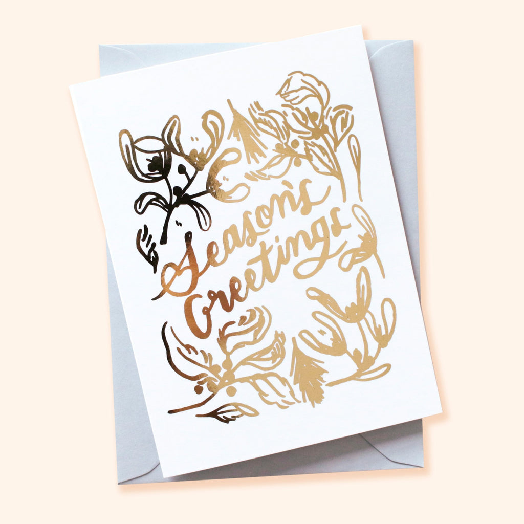 Gold Linework Seasons Greetings Card