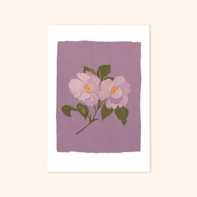 a print of a pair of illustrated light purple roses on a lilac background.