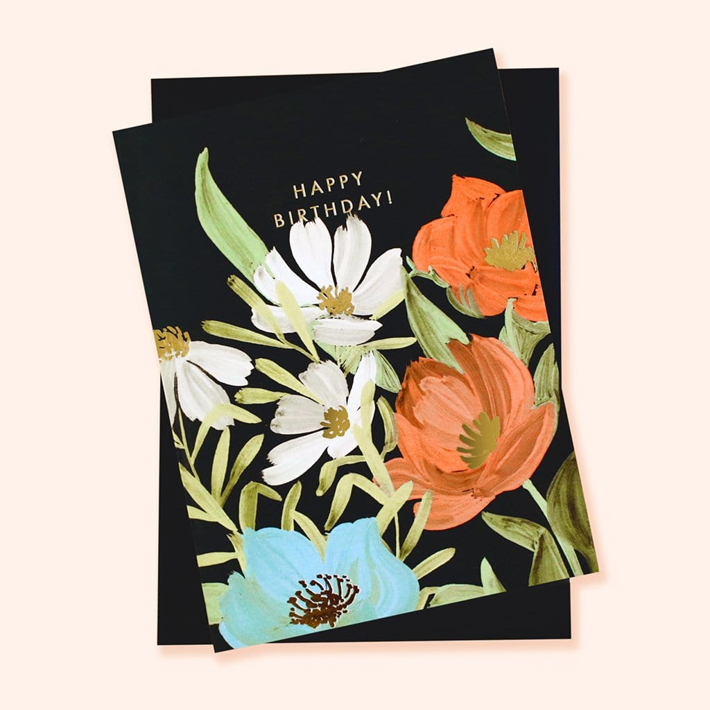 Happy Birthday Botanical Flower Card