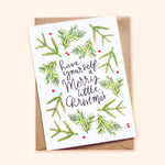 Merry little Christmas illustrated christmas card