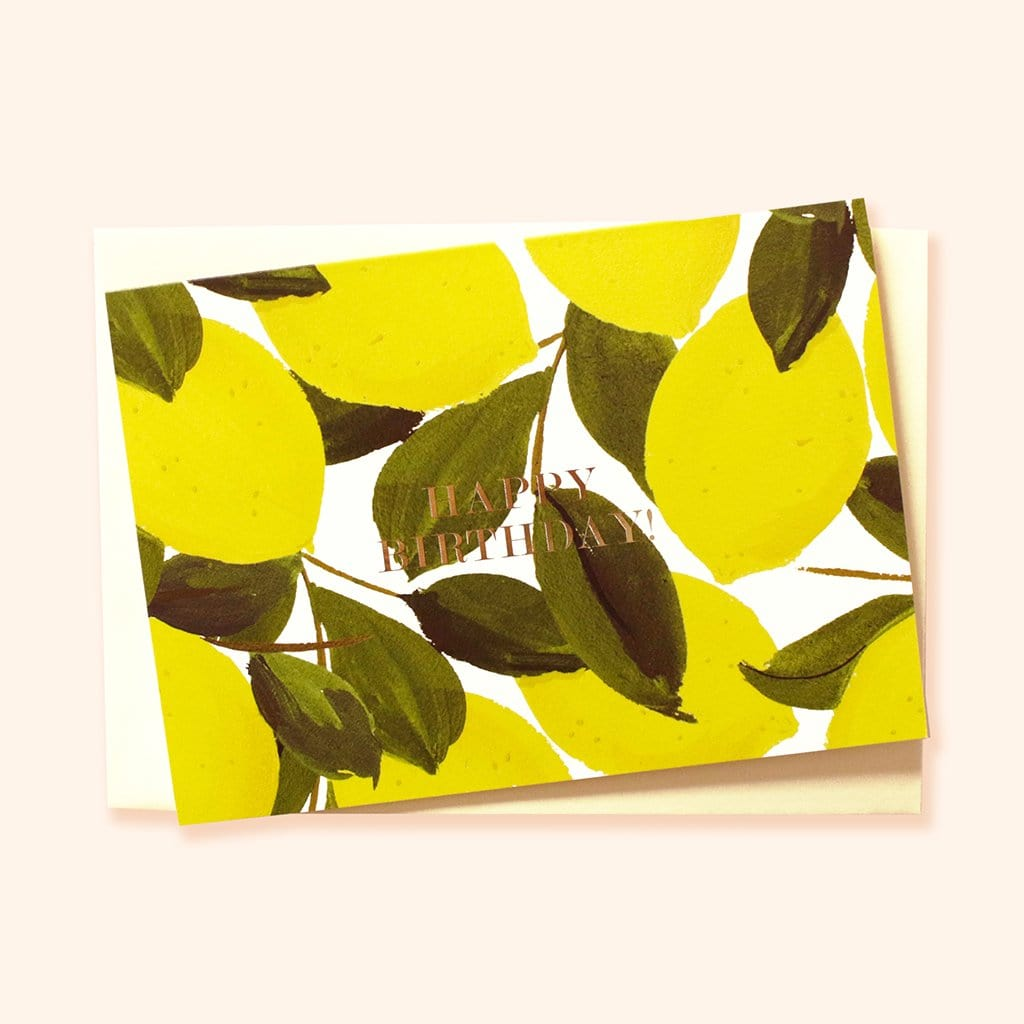 lemon illustrated happy birthday card
