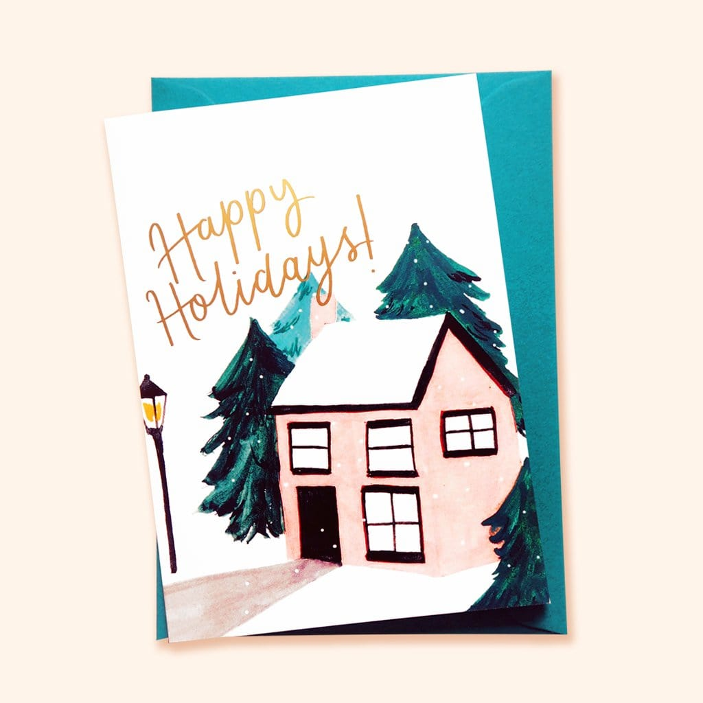 Illustrated english cottage - christmas card