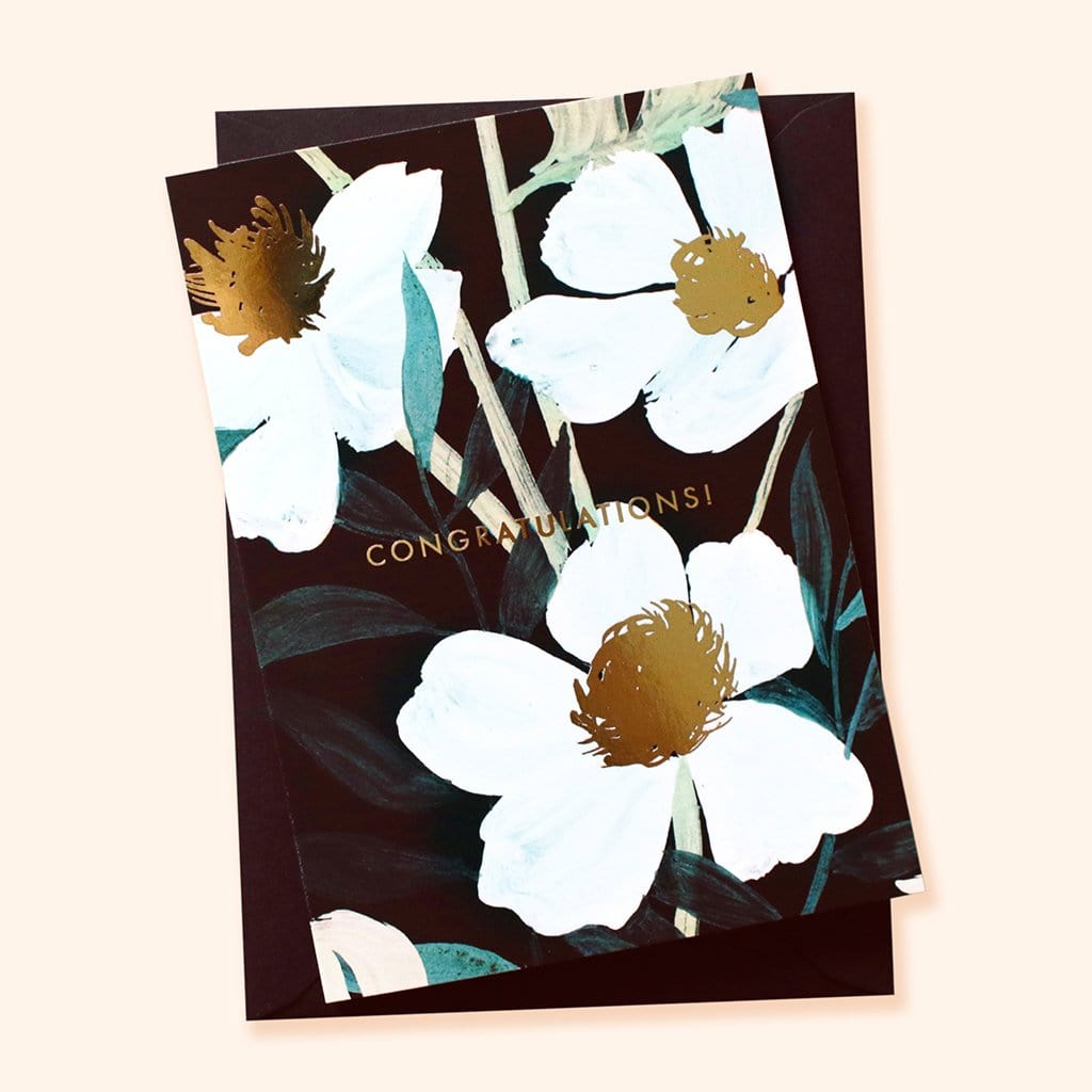 Illustrated floral congratulations wedding card