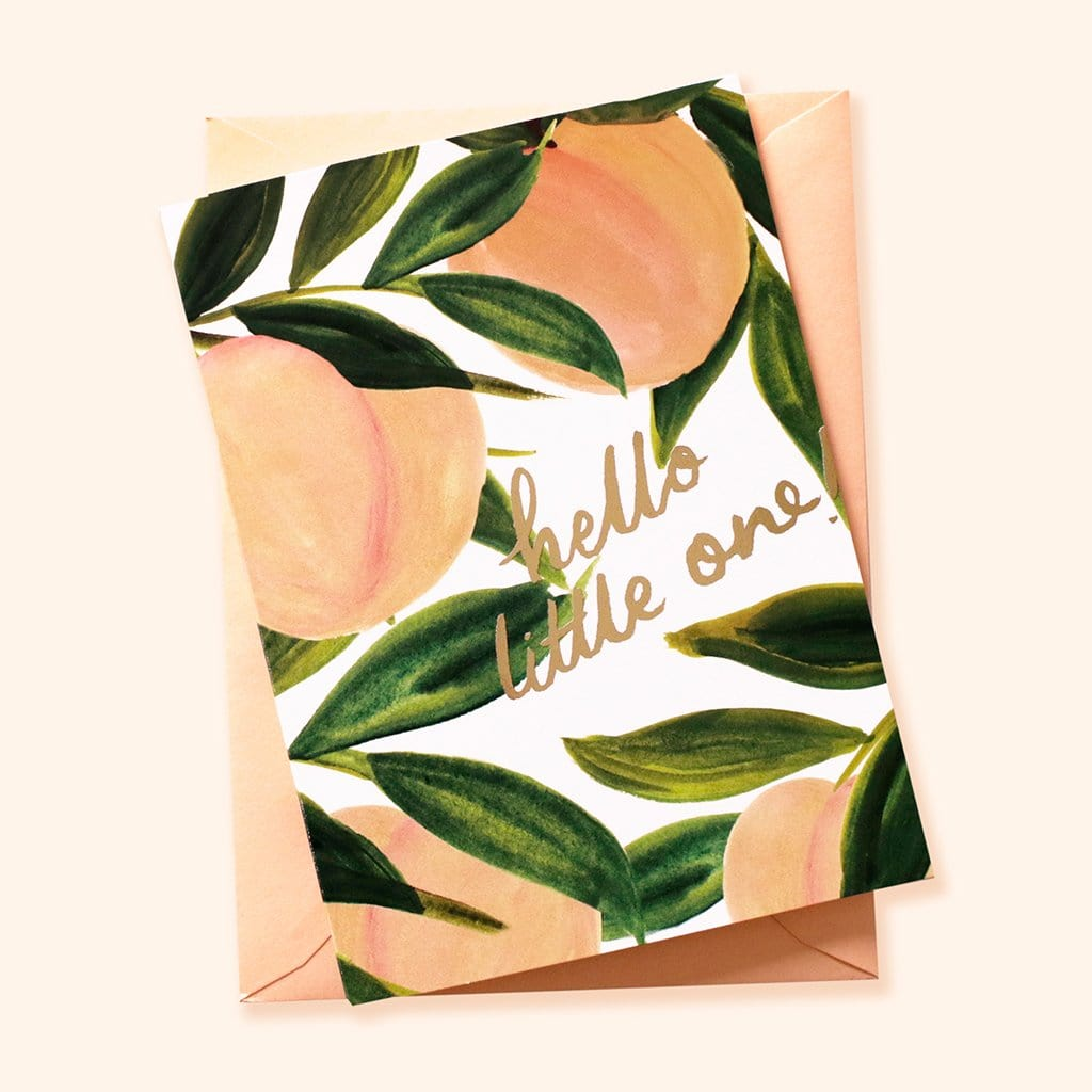 peach themed new baby card