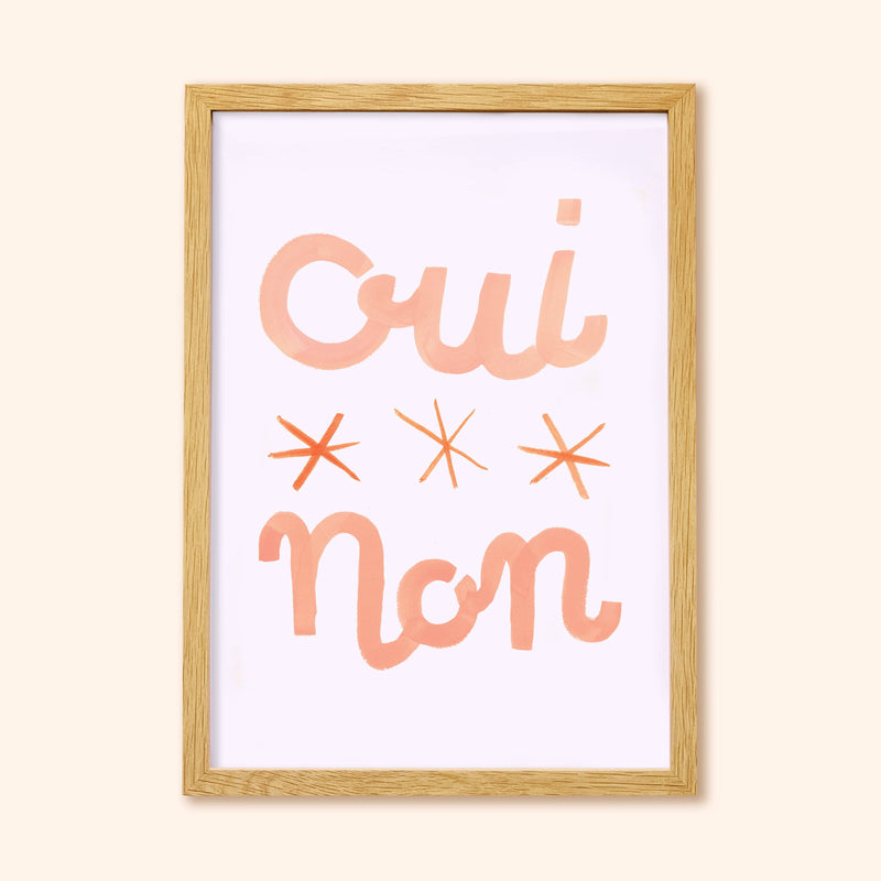 Oui Non French Lettering Print A3