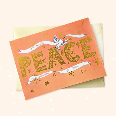PEACE illustrated indie christmas card
