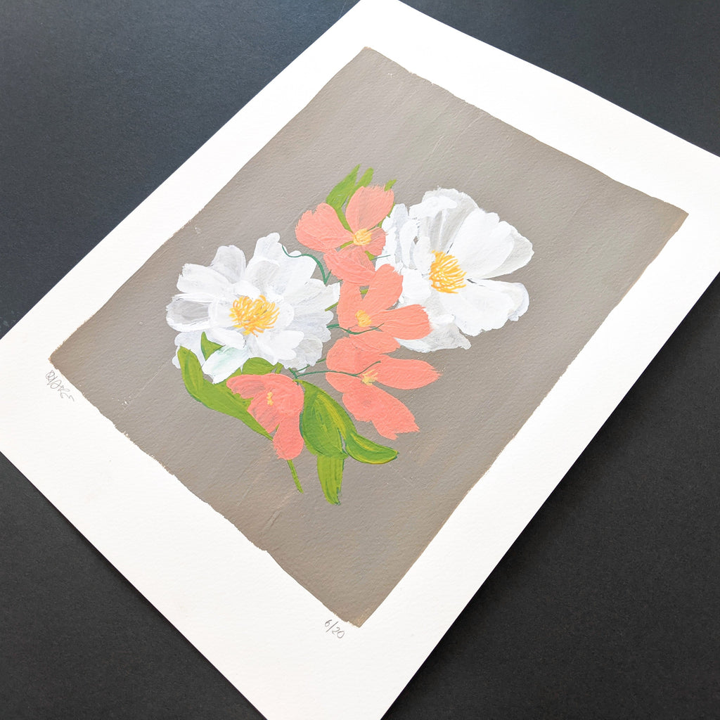Original Painting - White Peonies on Grey