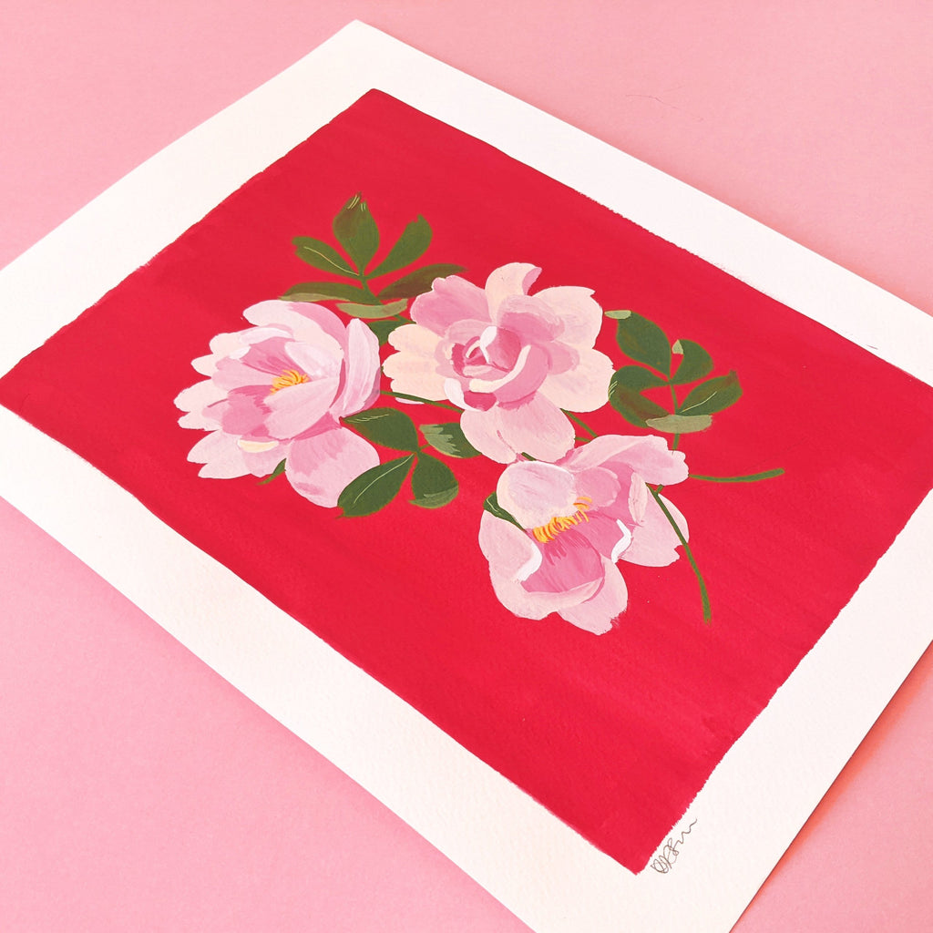 Original Painting - Pink on Pink Roses