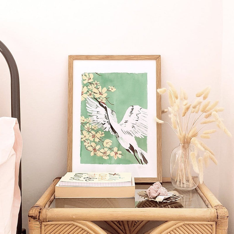 Japanese Red Crowned Crane Giclee Print