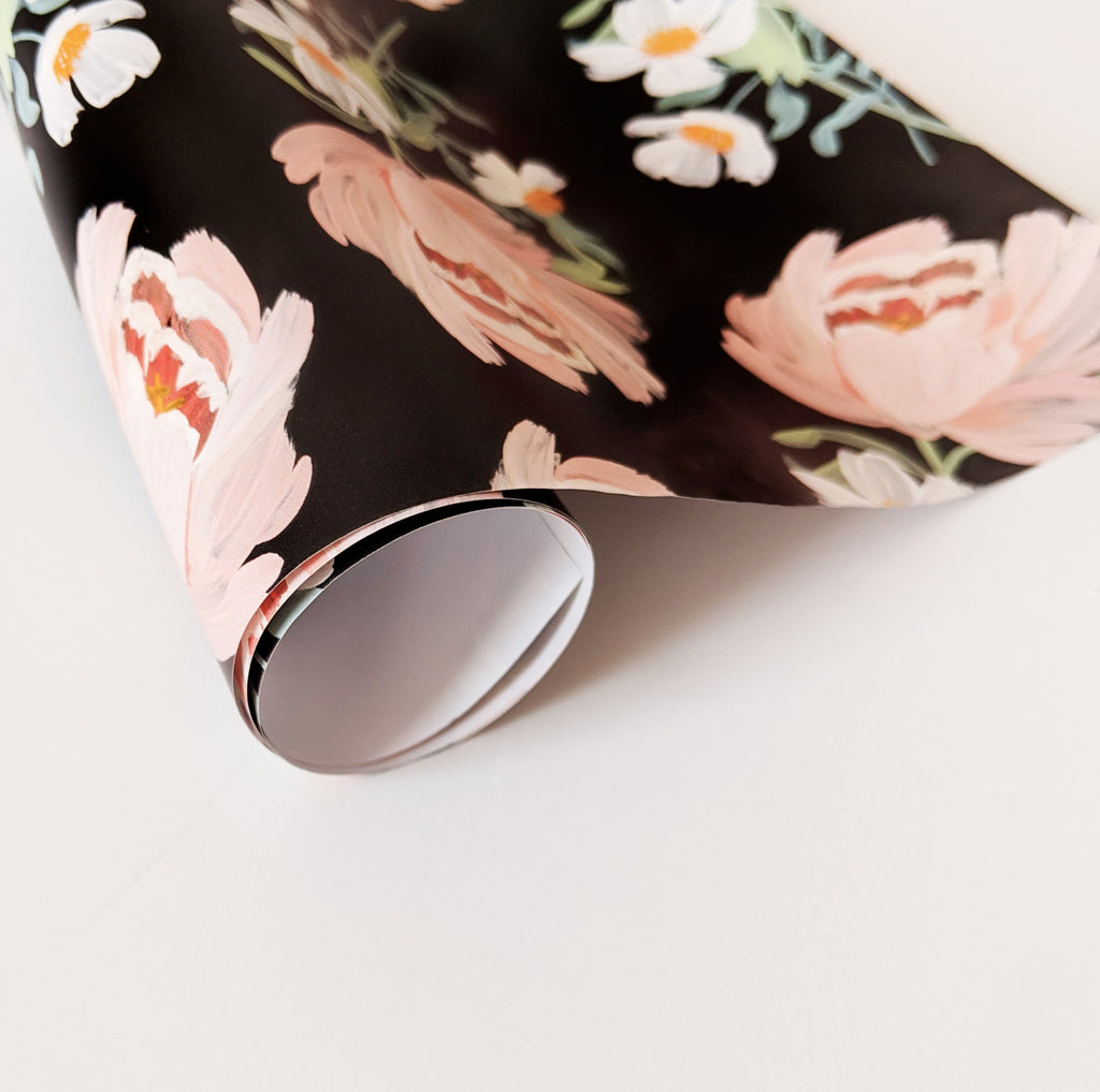 illustrated floral wrapping paper sheets