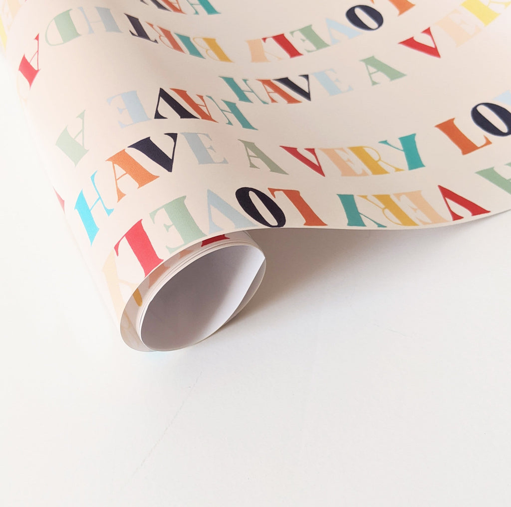 hand lettered birthday wrapping paper