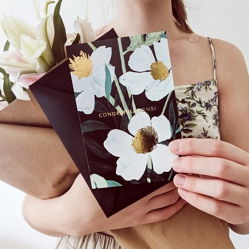 Illustrated floral congrats card