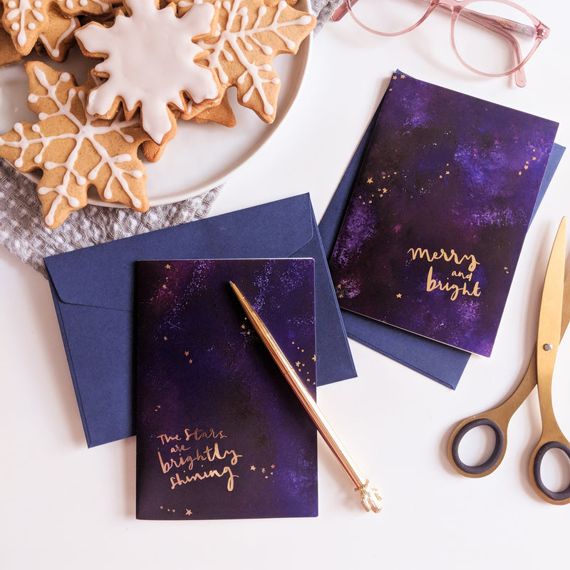 "Magical Galaxy Christmas Card - ""Brightly Shining"" - Annie Dornan-Smith Design"