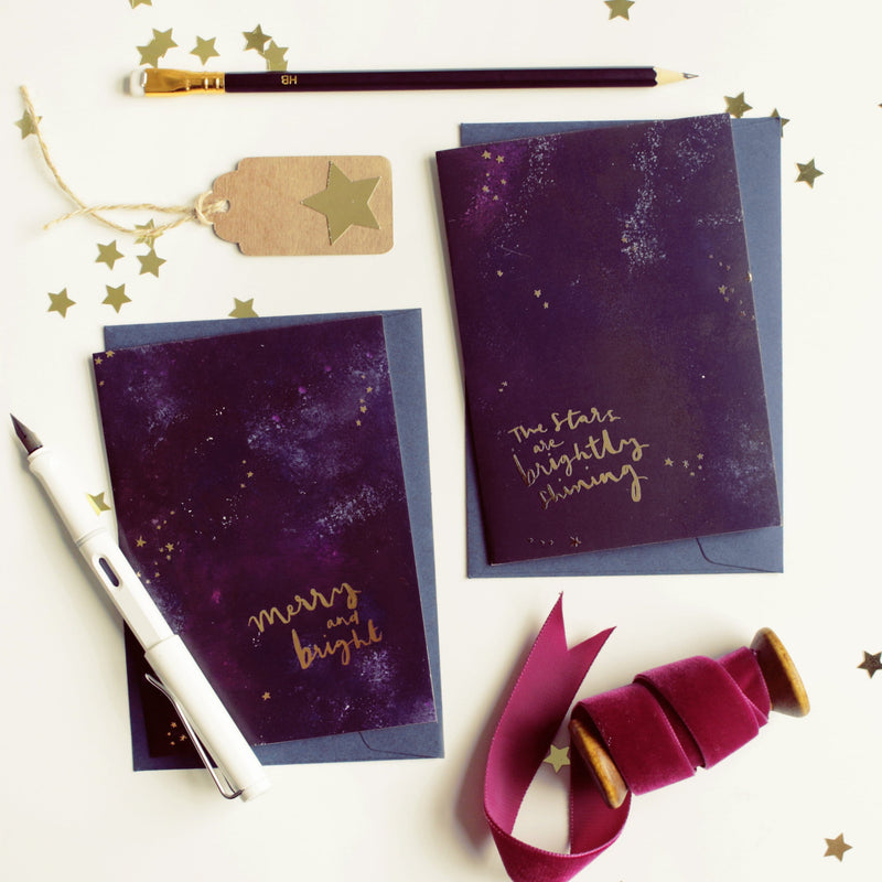 "Magical Galaxy Christmas Card - ""Merry and Bright"" - Annie Dornan-Smith Design"
