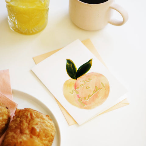 The You're a Peach card, with coffee and croissants