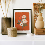 illustrated floral wall art