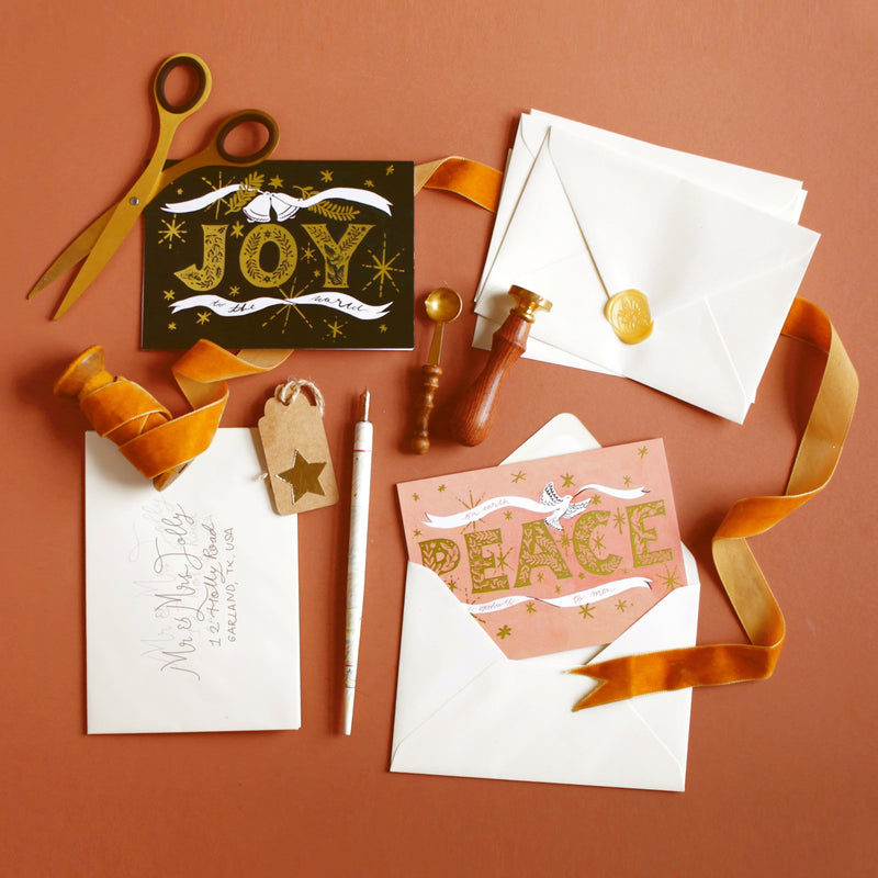 gold folk luxury christmas cards