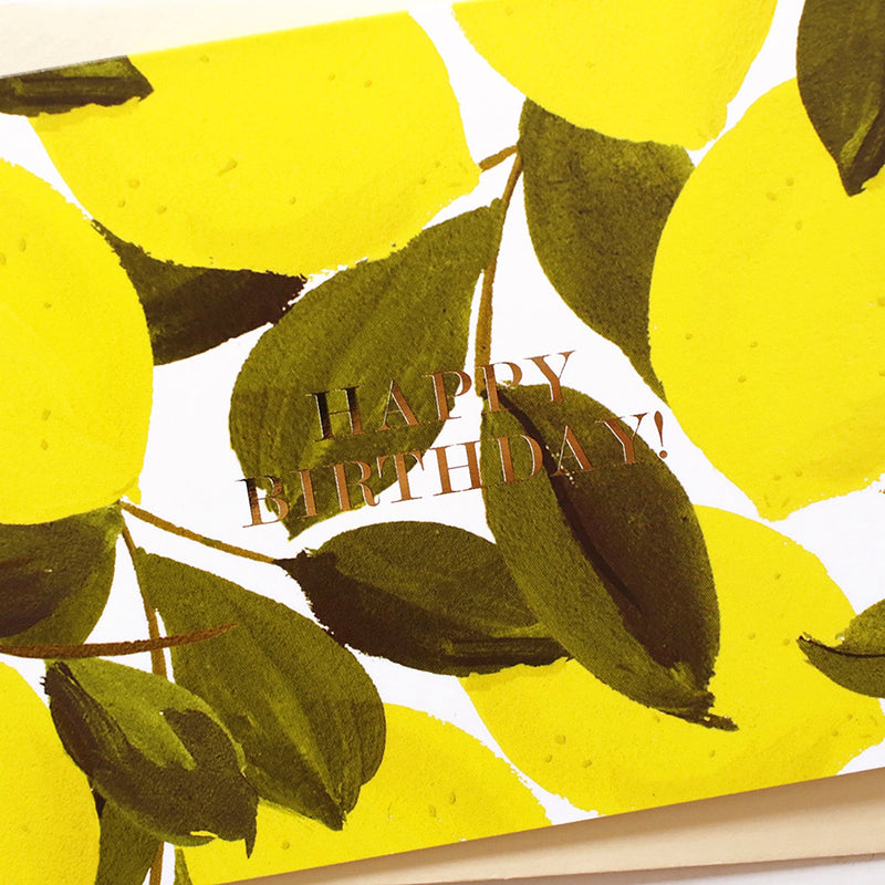 gold foil detail lemon birthday card