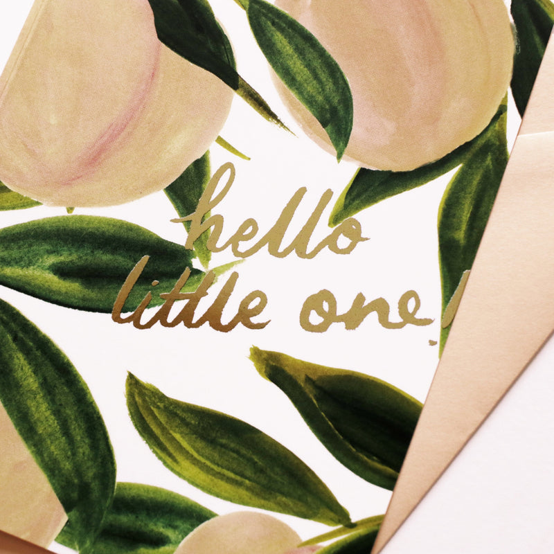 gold foil detail - peach new baby card
