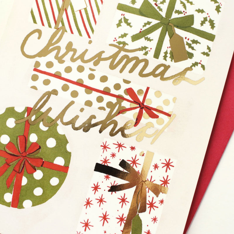 gold foiled illustrated christmas card