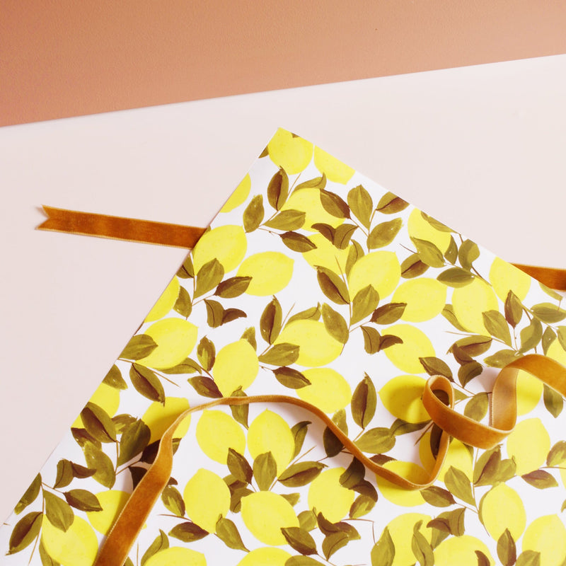 Citron Lemon Wrapping Paper Sheet