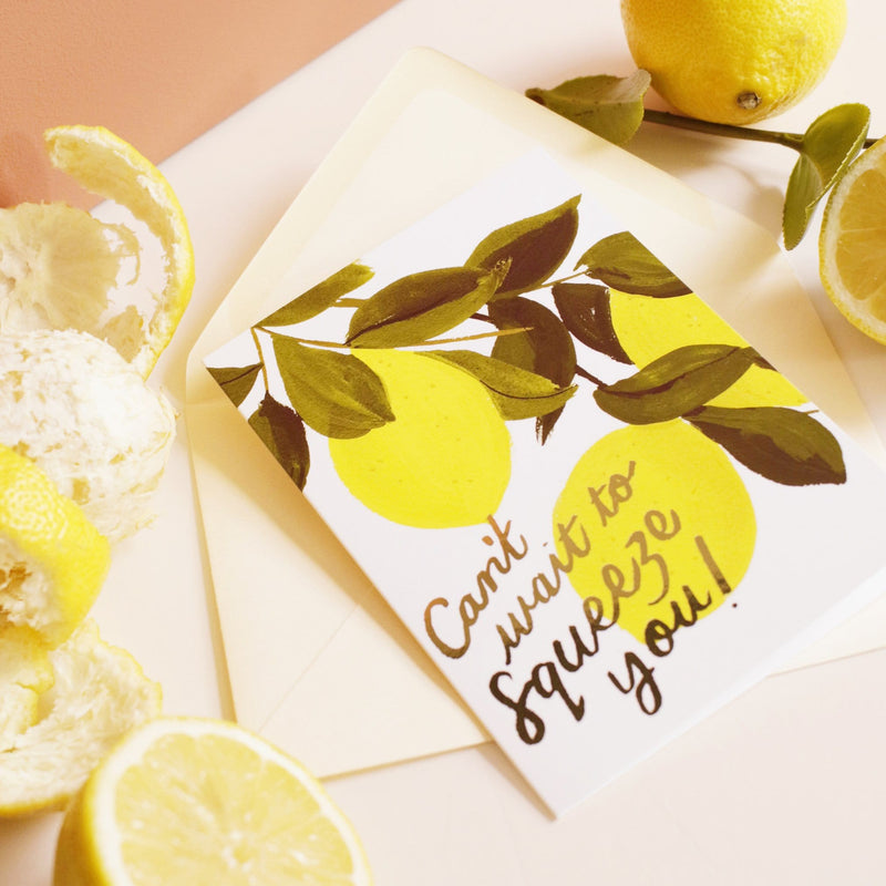 hugs lemon themed card