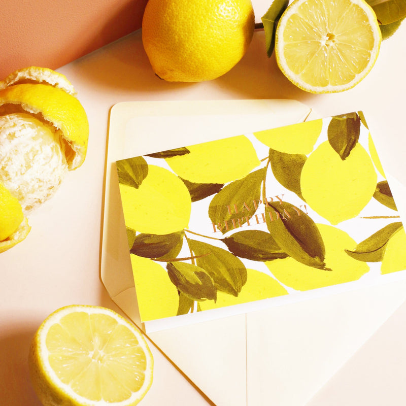 unique illustrated lemon birthday card