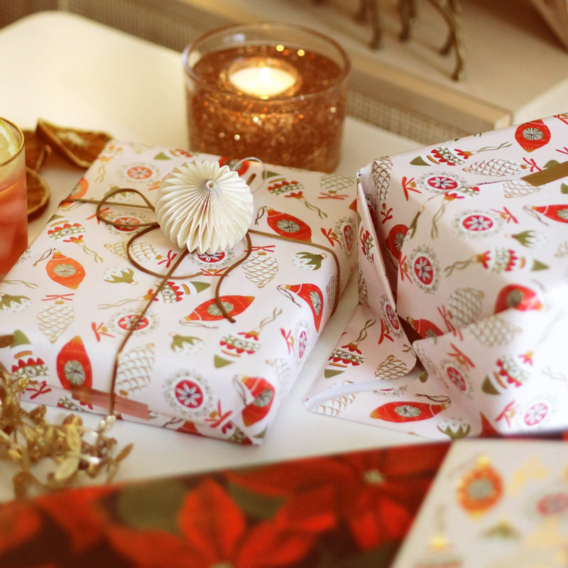 Vintage Baubles Christmas Wrapping Paper Sheet