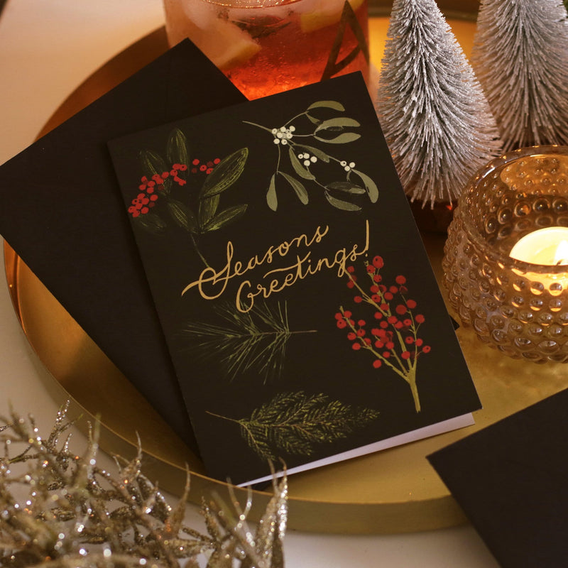 vintage inspired botanical christmas card