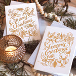 Gold Linework Merry Christmas Card