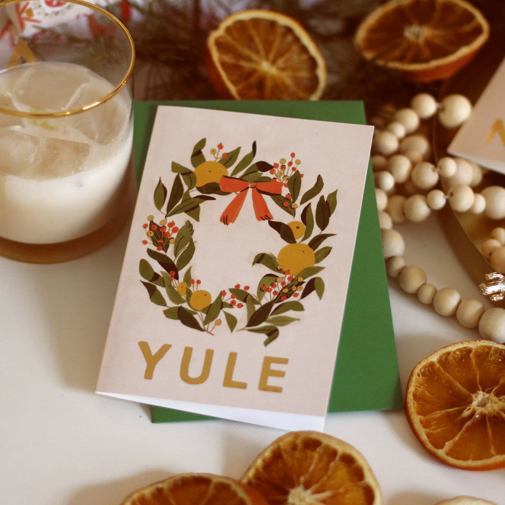 YULE Illustrated Wreath Christmas Card