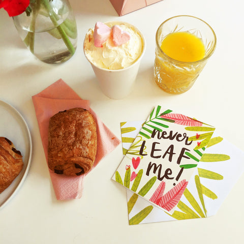 Opening the Never Leaf Me! Card with breakfast.