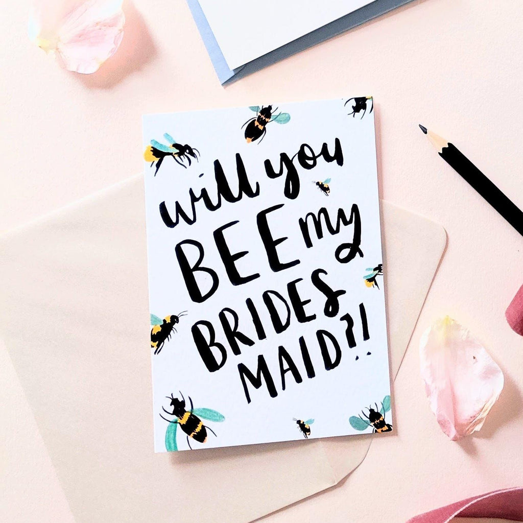bee my bridesmaid bee themed wedding card