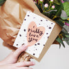 love you valentine's day card - the perfect compliment to a bunch of pink roses
