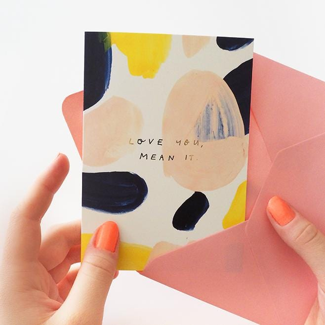 Love You Mean It Paint Swatch Anniversary Card A6 - Annie Dornan-Smith Design