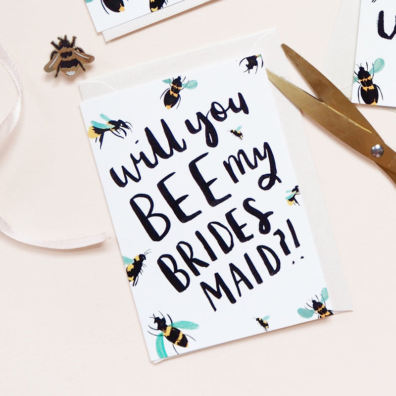 Will You Bee My Bridesmaid Bee Card - Annie Dornan-Smith Design