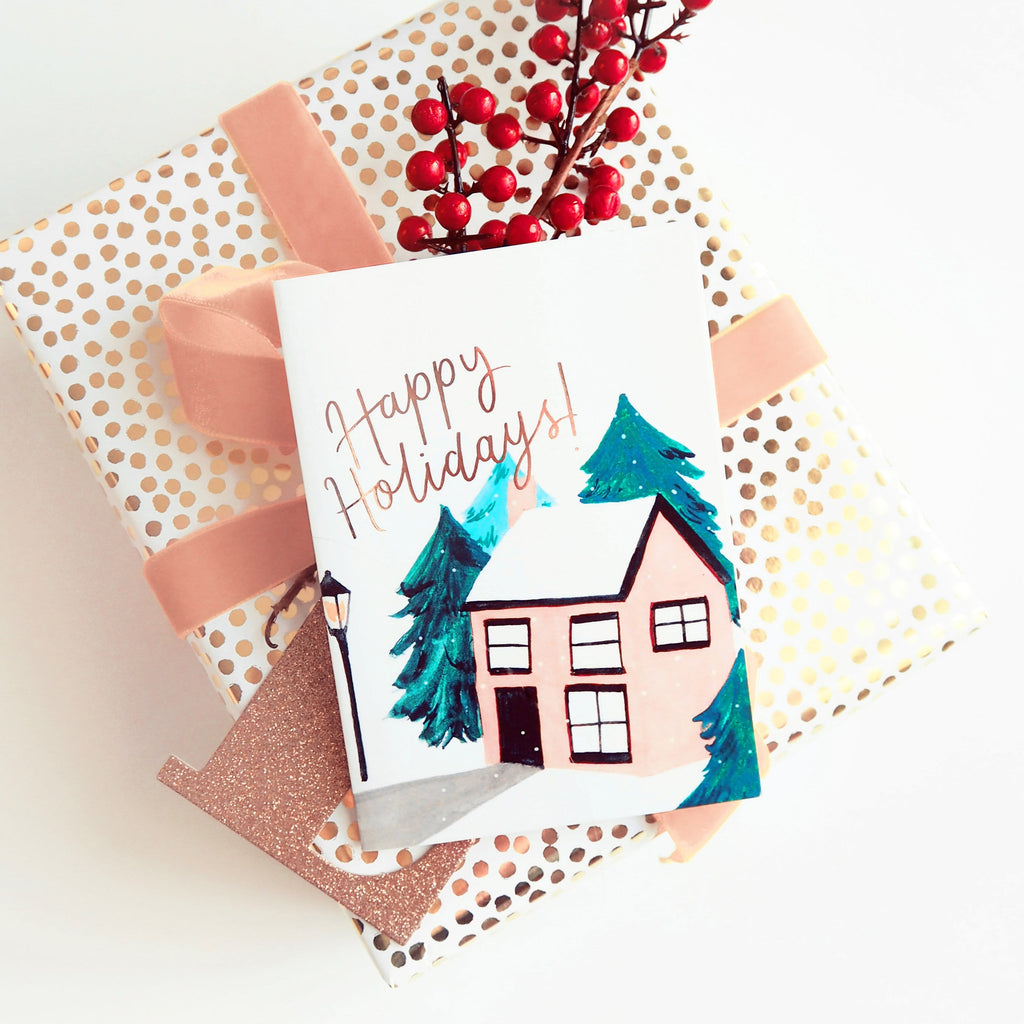 Snowy Cottage Illustrated Christmas Card - Annie Dornan-Smith Design