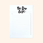 Mono Hand Lettered To-Do List Notepad - Annie Dornan-Smith Design