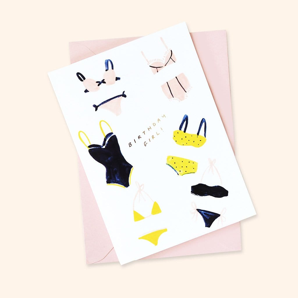 Birthday Girl Bikini Greetings Card A6 - Annie Dornan-Smith Design