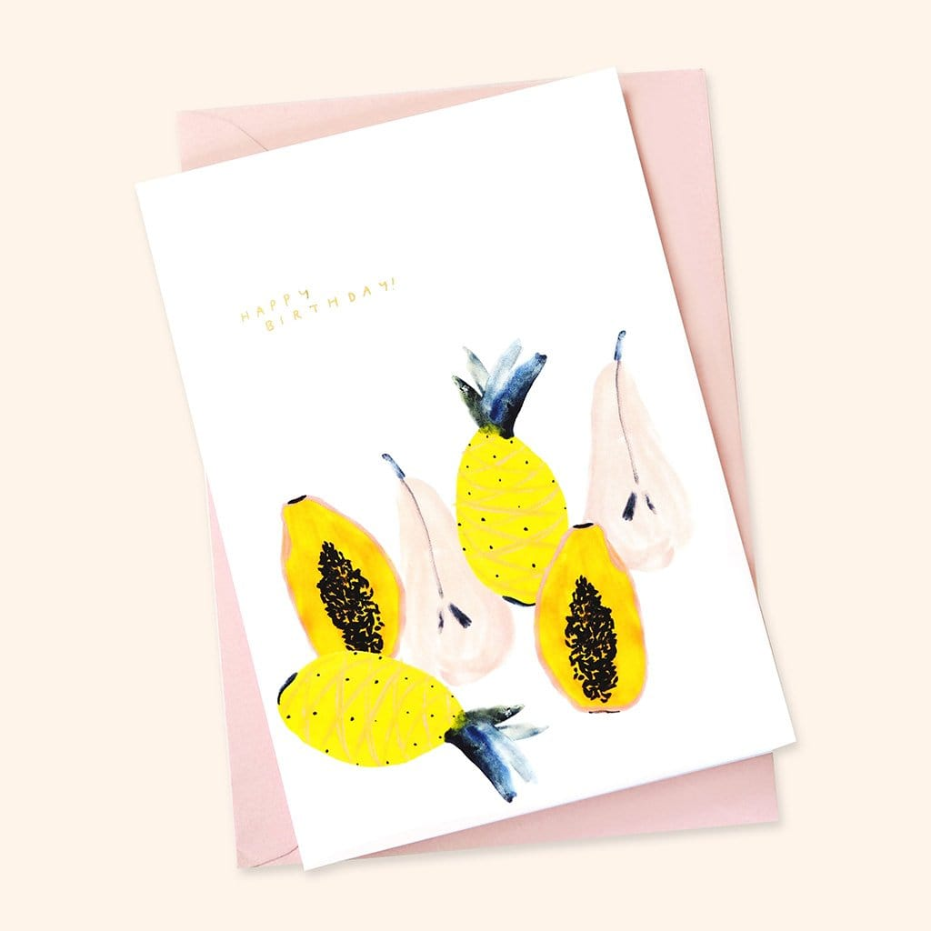 Illustrated tropical fruit birthday card