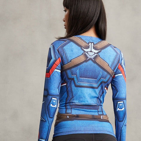 Ladies Captain America Long Sleeve Compression Shirt 3