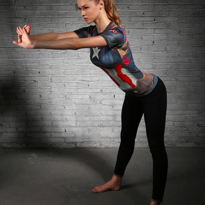 Ladies Captain America Compression Shirt - magilook deep cleansing masks