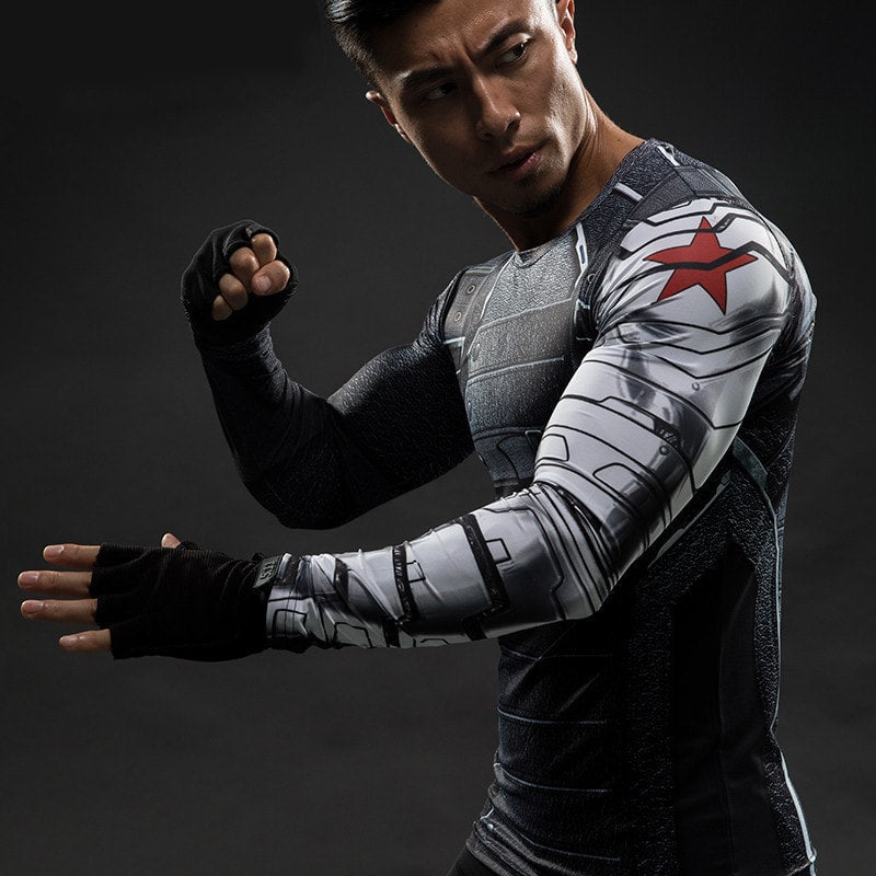 Winter Solider Long Sleeve Compression Shirt - Novelty Force