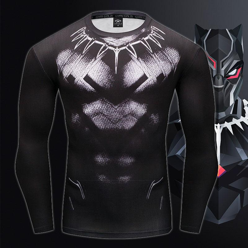 Black Panther Long Black Sleeve Compression Shirt