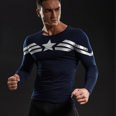 Captain America Star Long Sleeve Compression Shirt - magilook deep cleansing masks