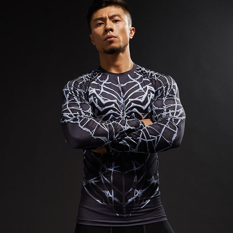 Light Web Symbiote Long Sleeve Compression Shirt