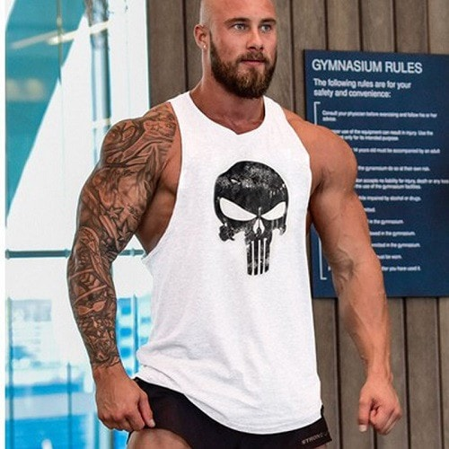 White Punisher Tank Top Singlet