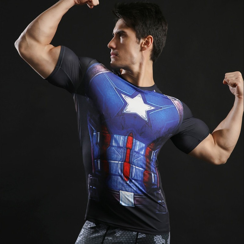 Captain America Black Compression Shirt