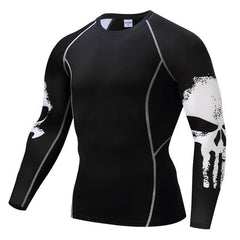 Image of Punisher Long Sleeve Compression Shirt (skulls on side)